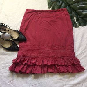 ANTHRO ODILLE | cranberry ruffled skirt